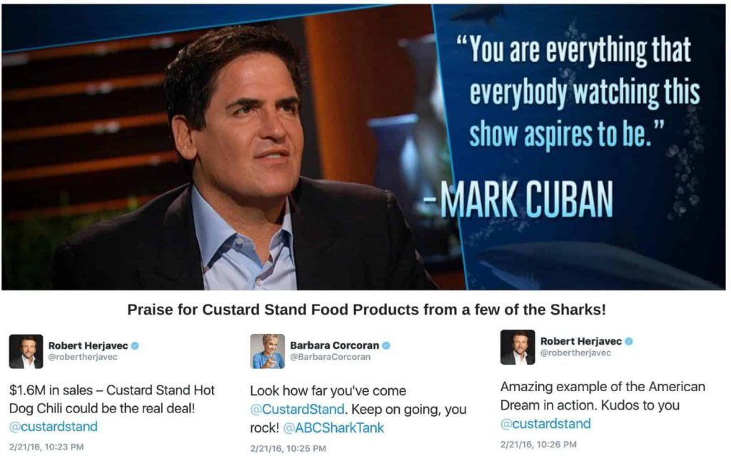 Praise from Mark Cuban, Robert Herjavec and Barbara Corcoran of Shark Tank